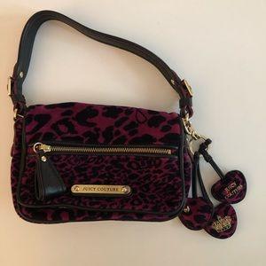 Juicy Couture Velour Leopard purse purple Small